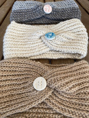 Headband with porcelain alpaca button