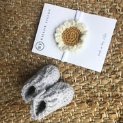Baby Booties and Daisy Headband Bundle