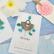 Tribal Sun Turquoise Earrings