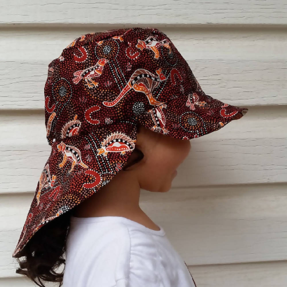 Adjustable Sunhat - Indigenous Cudgegong Animals