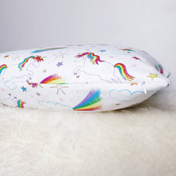 Unicorn + Rainbows Cushion 18""