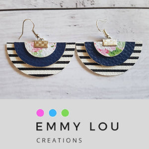 Semi Circle Stripes, Navy & Floral Statement Earrings