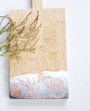 Botanical Styled-Grey 1 Bamboo Cheeseboard with a Cheese Knife
