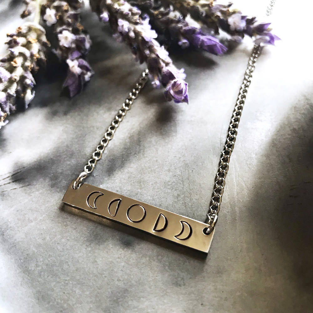Moon Phase Hand Stamped Bar Pendant Necklace