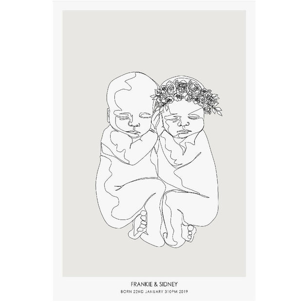 TWINS PERSONALIZED BIRTH POSTER to scale- A newborn babies in a single line