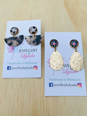 Dangle Earrings Tortoise and Flower