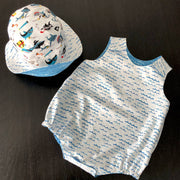 Baby's beach set - romper & hat