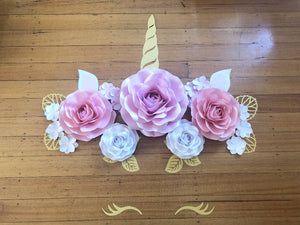 Unicorn Paper Flower Set/ Paperflower Wall Backdrop/ Birthday Girl/ Dessert Table