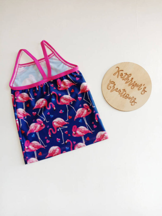 Girls' Flamingo Tankini Swim Set Size 4