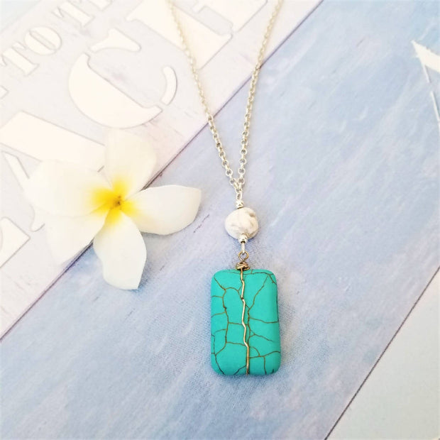 Turquoise Oblong Necklace
