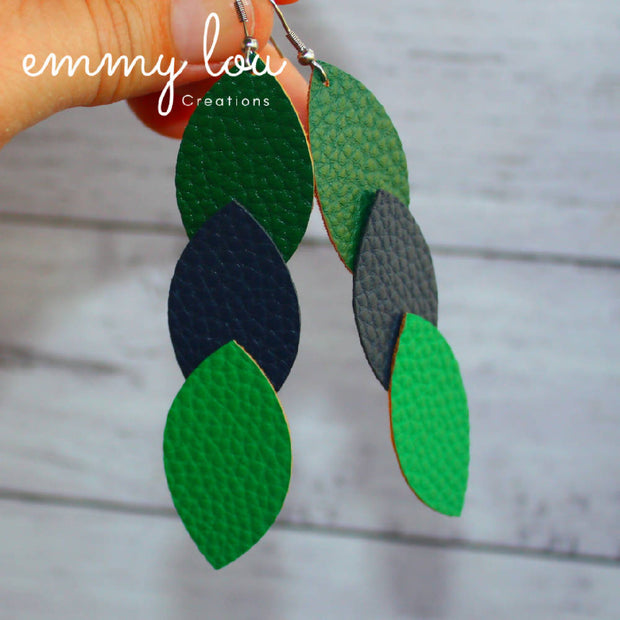 Vertical 3 Leaf Faux Leather Dangles Earrings