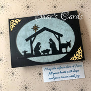Nativity Christmas card in blue & black