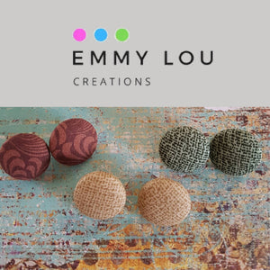 Earthy Tones Fabric Button Earrings - Set of 3