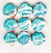 Light Blue Ocean Coasters decorated with high quality epoxy resin on acacia wood. Perfect homedecor gift option