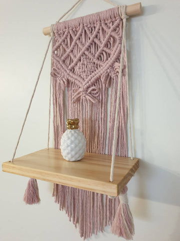 Blush pink macrame shelf