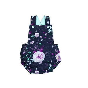 organic baby romper, girls flower romper, baby girl bubble romper