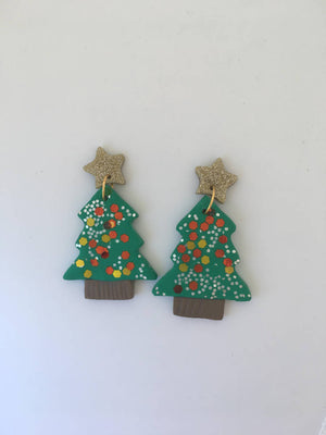 Christmas Tree and Star Polymer Clay Dangles