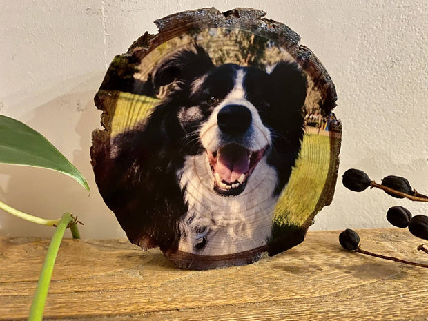 Pet Portrait, Personalised Pet Wood Slice Photo Print, Custom Photo Gift, Handmade Wood Block, Rustic Photo Gift, Pet Lovers, Birthday Present, Photo Memory Block