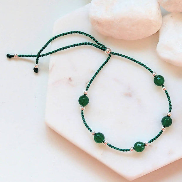 Sterling Silver, Green Agate Silk adjustable stacking bracelet