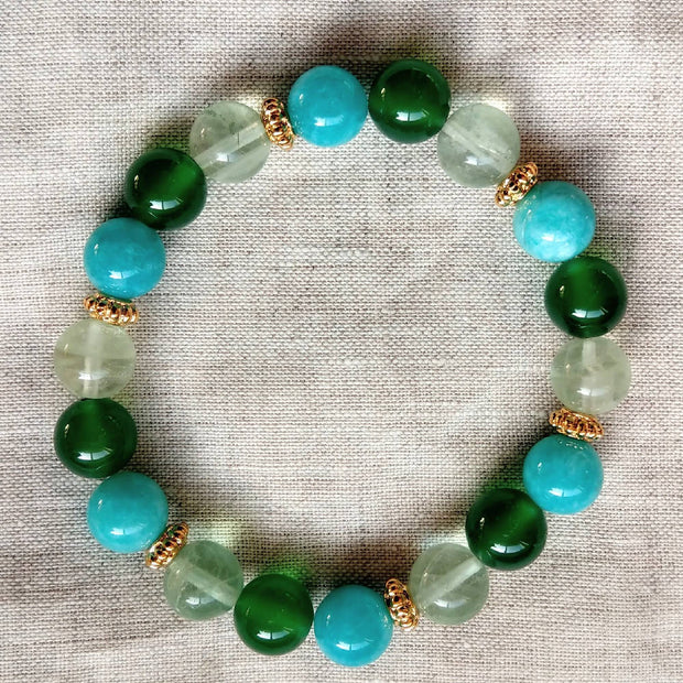 Green Agate, Amazonite, Prehnite Gold stretchy Bracelet