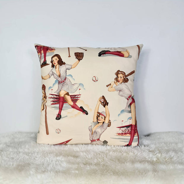Pinup Ladies of Baseball Cushion Cover (18inch)