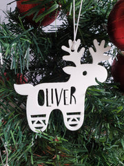 White Reindeer Christmas Ornament