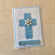 Christening Card with hearts Cross
