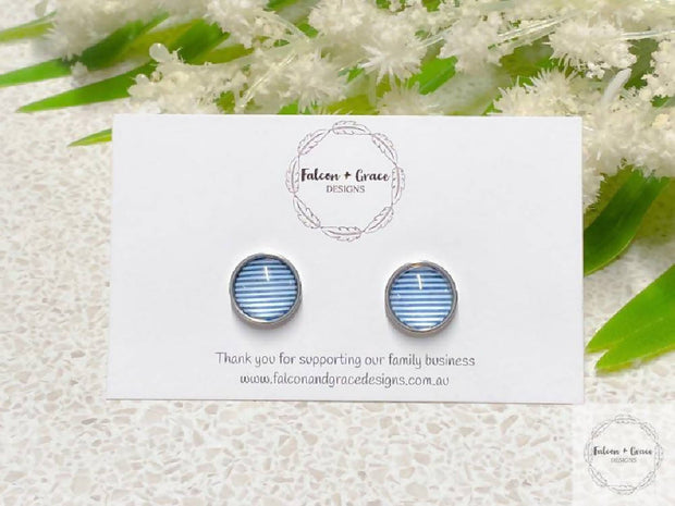 Blue and White Stripe Earrings