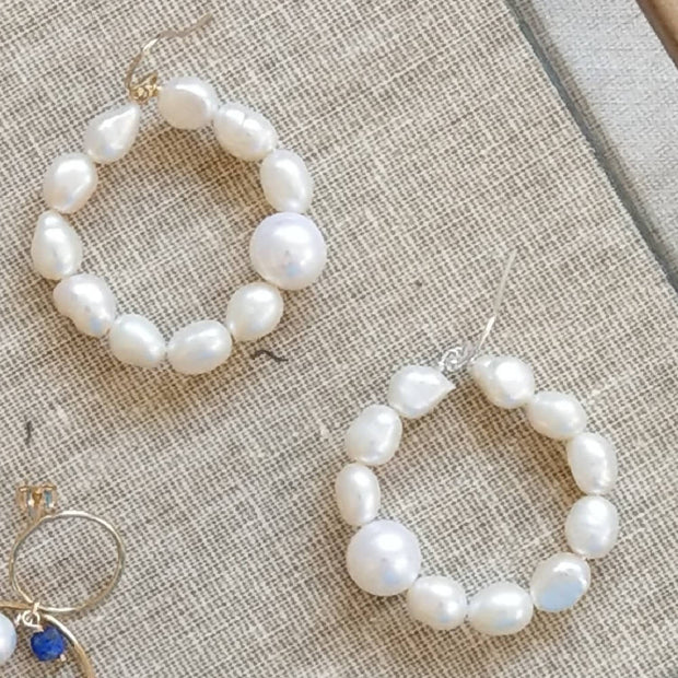 Helena fresh water pearl hoop Gold or Silver Earrings