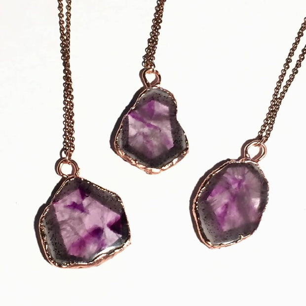 Amethyst Slice Necklaces