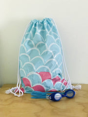 Swim bag or Sports bag (pull cord) made from upcycled Pooltoys