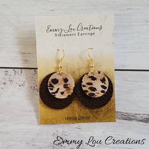Small Animal Print Double Layer Round Faux Leather Earrings
