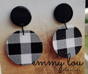Small Black Gingham Earrings with Black Studs