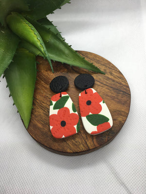 Red and White, with Black Stud Topper Poppy Flower Dangles