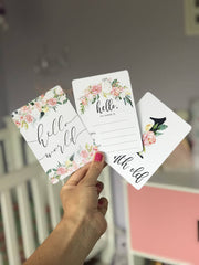 Pink Floral Baby Milestone Cards