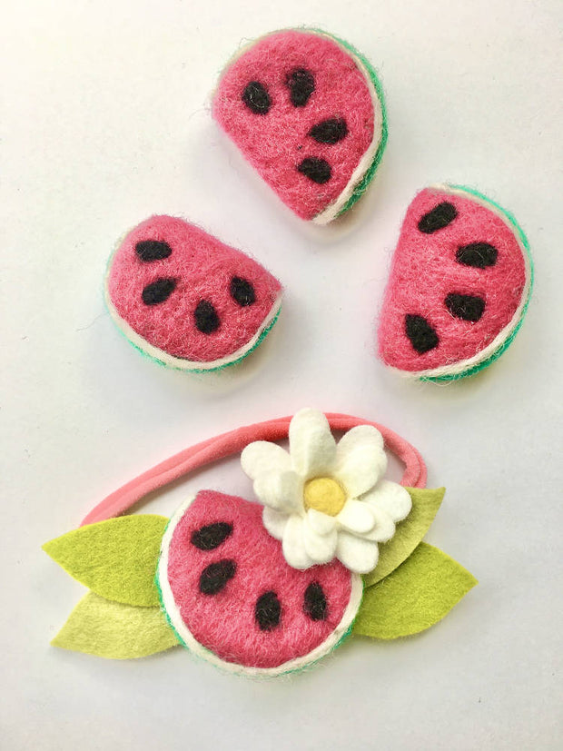 Whimsical summer girl watermelon fruit Accessories, Newborn Baby Flower Crown Headband, Baby Shower Gift First Birthday cake smash outfit