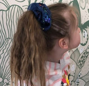 Navy Space Ribboned Organza Scrunchies