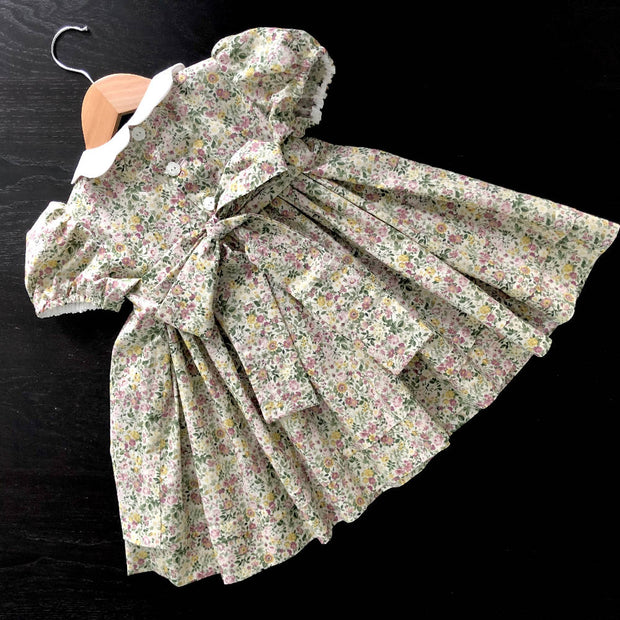 Smocked dress - soft floral - size 3 - one of a kind