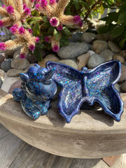 Butterfly Trinket Dish and Unicorn Ring Holder Gift Set - Blue Sparkle