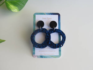 Chunky Blue Hoops with Black Studs