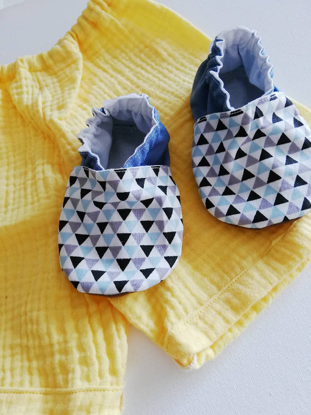 Geometric Blue soft soled shoes