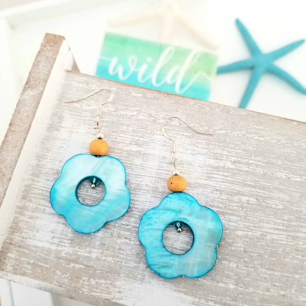 Blue Coral Shell Earrings