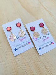 Dangle Earrings Peach and Pink Mandala