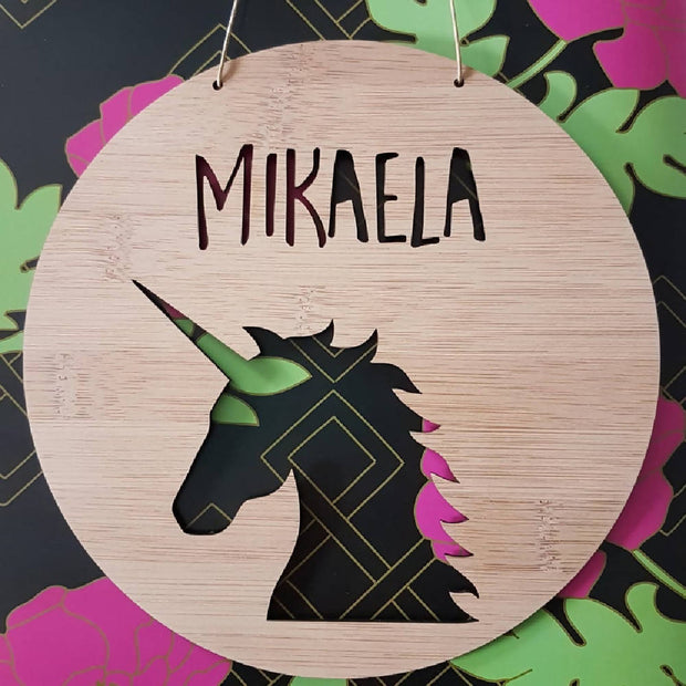 Unicorn Wall Hanging (Bamboo or Pastel Coloured Acrylic)