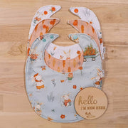 Round Baby Bib - Easter Bunnies & Carrots (Set of 3 or sold individually)