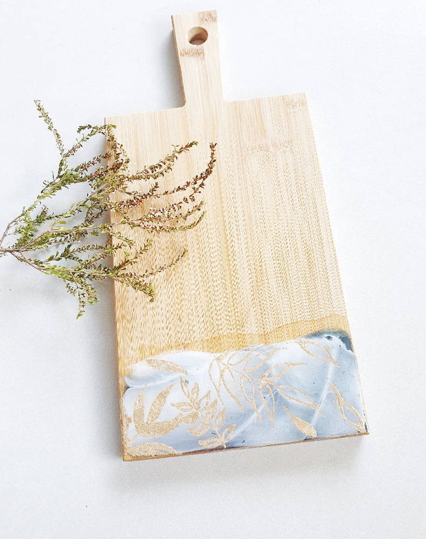 Botanical Styled-Grey 2 Bamboo Cheeseboard with a Cheese Knife