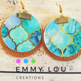 Double Layer Gold and Mosaic Pattern Round Faux Leather Earrings