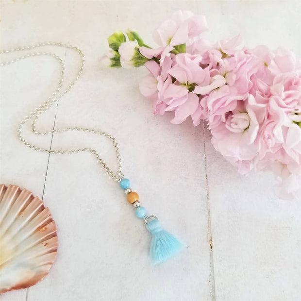 Blue Stone Tassel Necklace