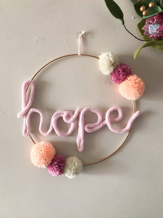 Wire word HOPE hoop art