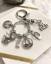 #1 Dad Father's Day Keyring Fishing Themed